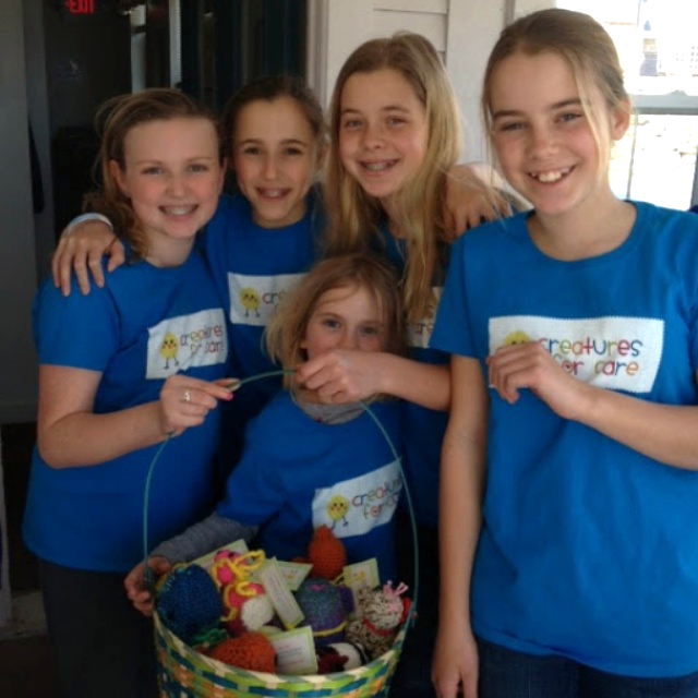 The Creatures for Care gang which includes 5 girls and about 100 donated creatures