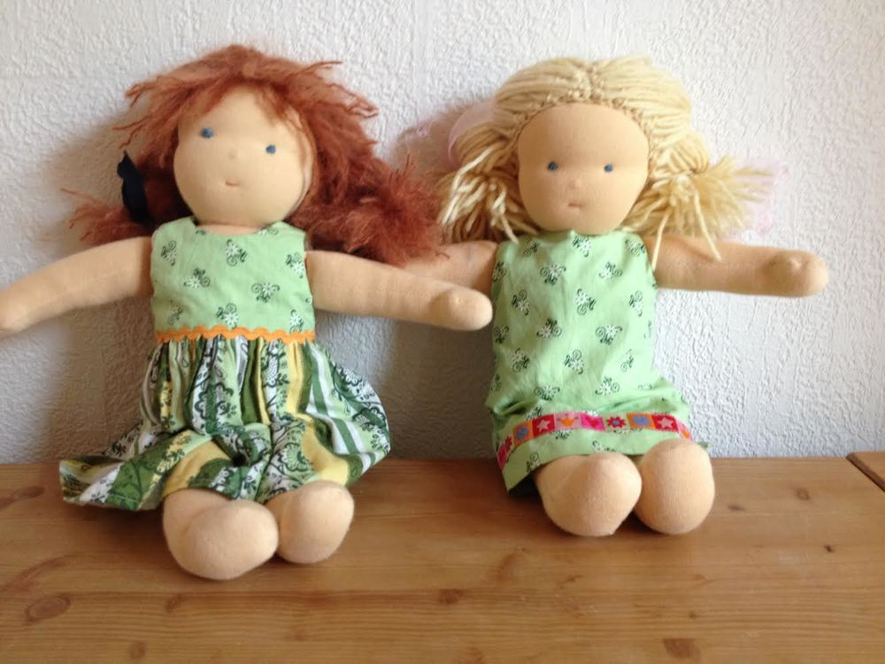 Two beautiful Waldorf dolls made by  Andrea Schrage-Möller. Photo courtesy of ASM