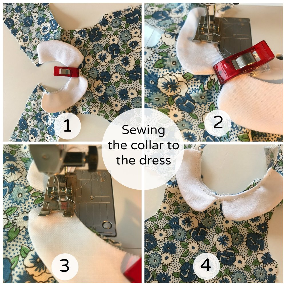 Sewing collar to the dress