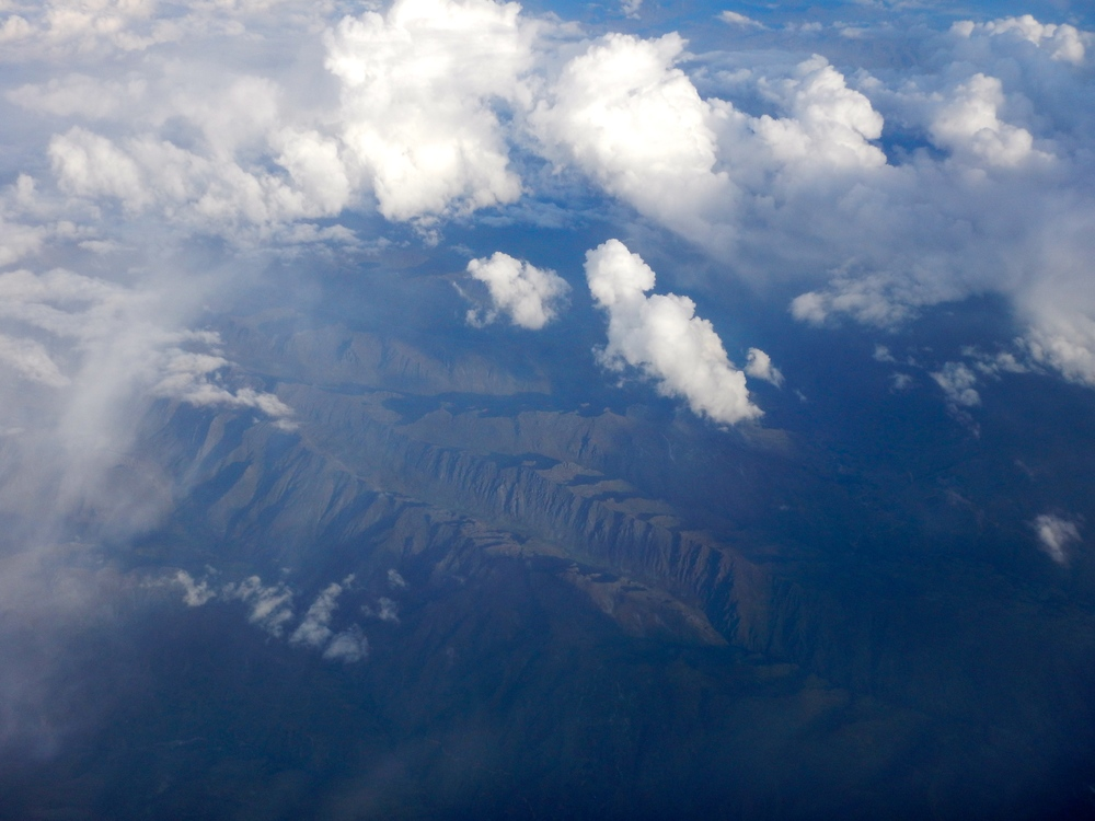 The Andes Mountains as viewed from the airplane