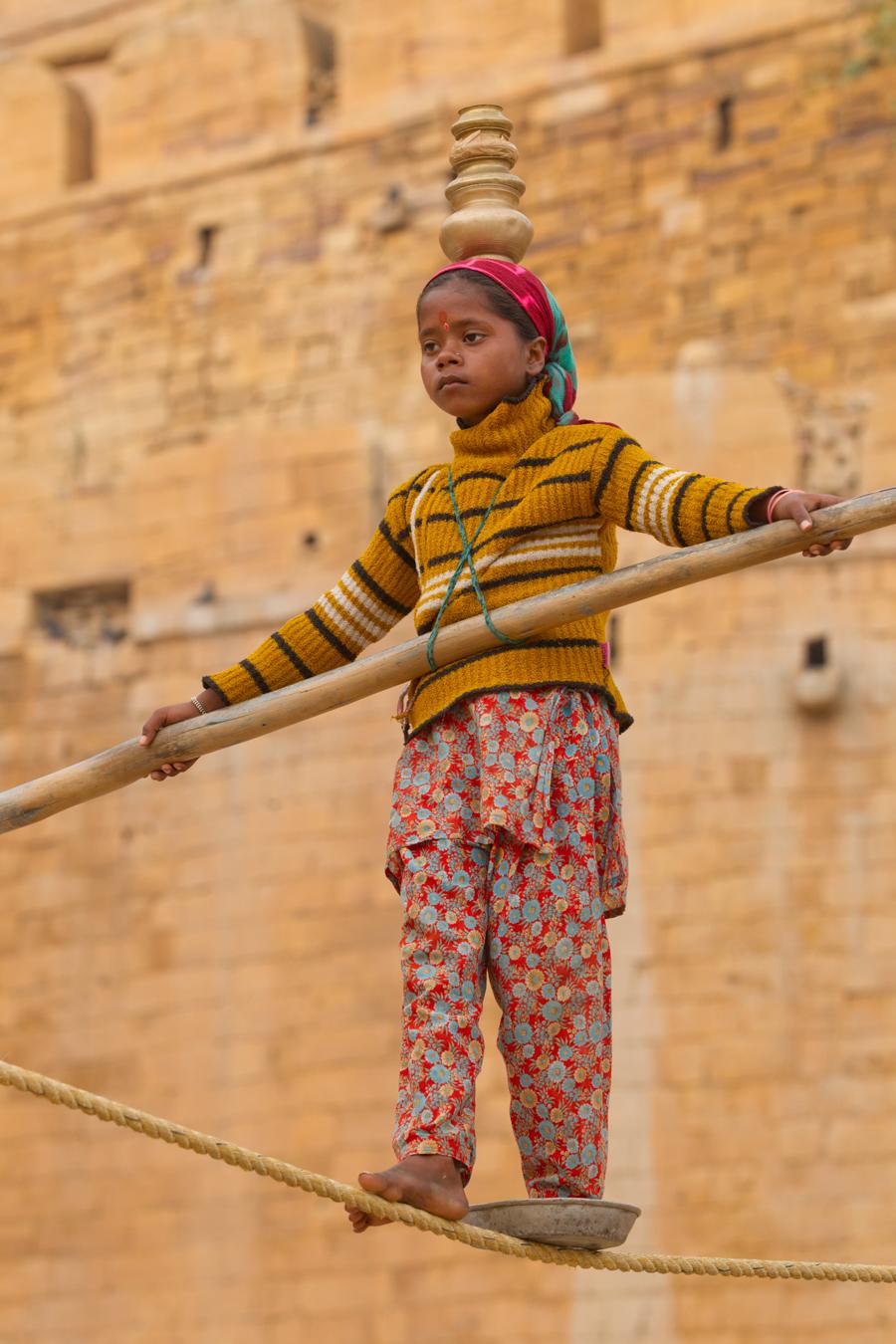 Tightrope walker, Jaisalmer, Rajasthan, Feb 2013