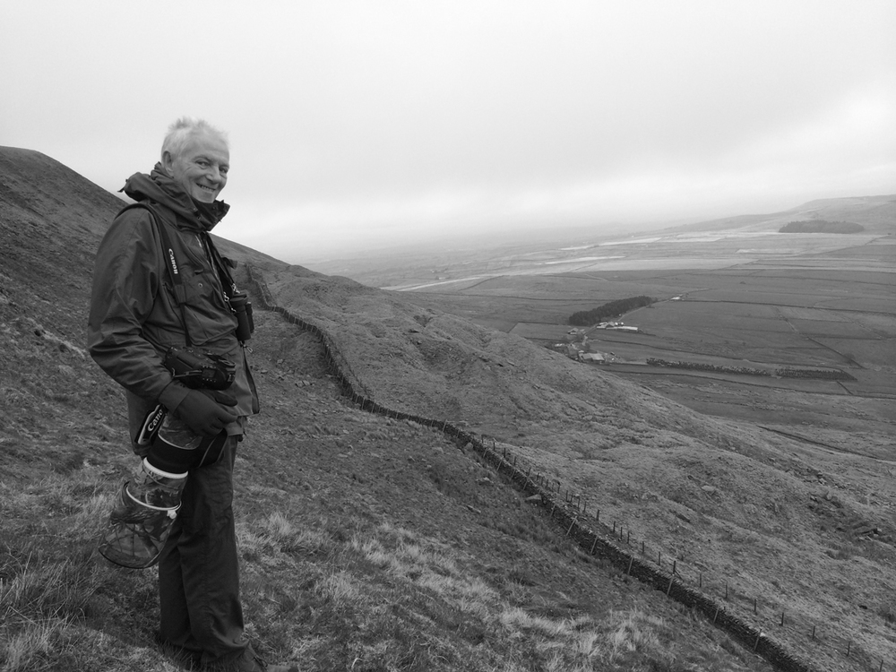 Alan McBride watching his first Ring Ouzels for 40 years on Pendle!