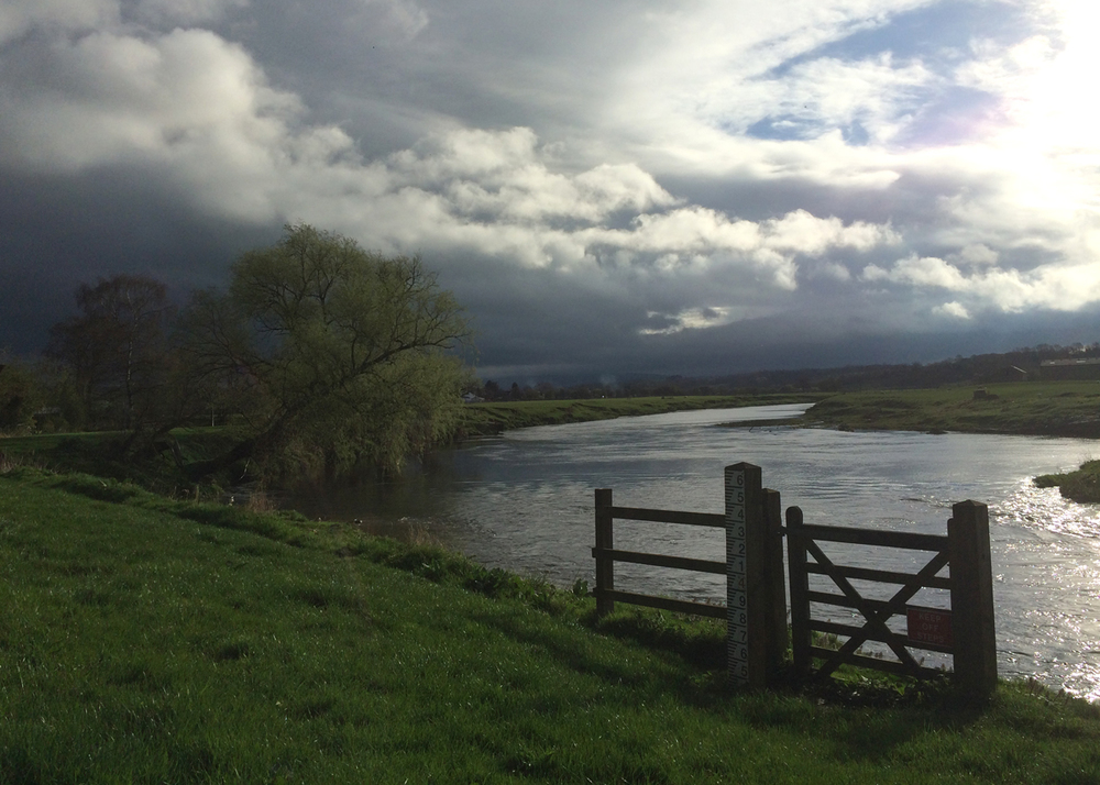 River Ribble at Ribchester looking towards Pendle Hill