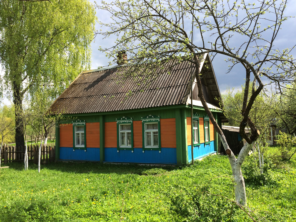 Traditional wooden cottage, Krasny Bor Reserve. May 2015