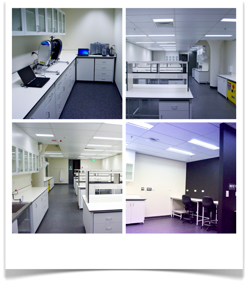Clockwise from top-left: Particle Sizing Lab, Respiratory Technology Lab (RTL), Advanced Microscopy Suite, RTL