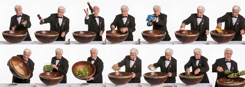 The Caesar salad experience includes Alfio's show.