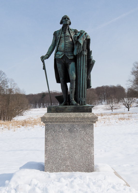 George Washington surveying the wintery scene at Valley Forge Park
