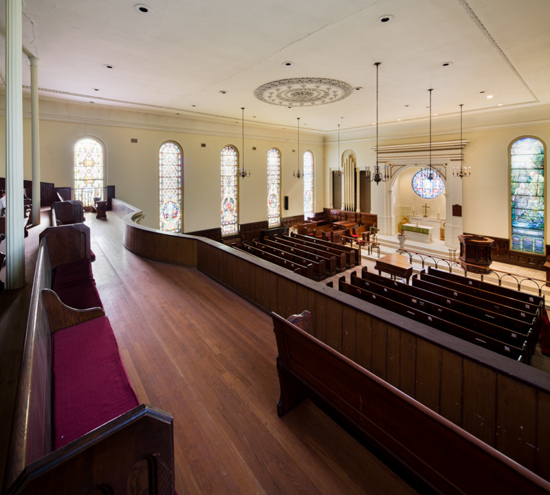 Trinity's grand sanctuary can seat 1,250 worshipers.