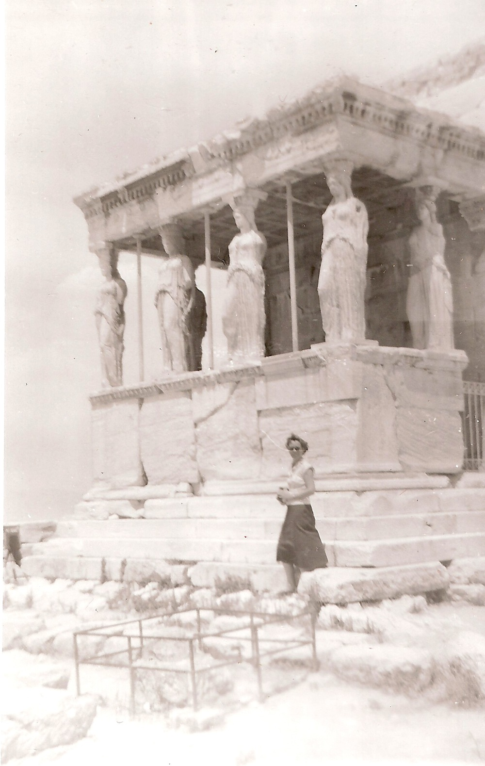 My grandmother's certainty, caryatid-like, could hold up the roof of the world. Here she is some sixty years ago, on her first trip abroad, where she clearly absorbed ancient values of metropolitanism.