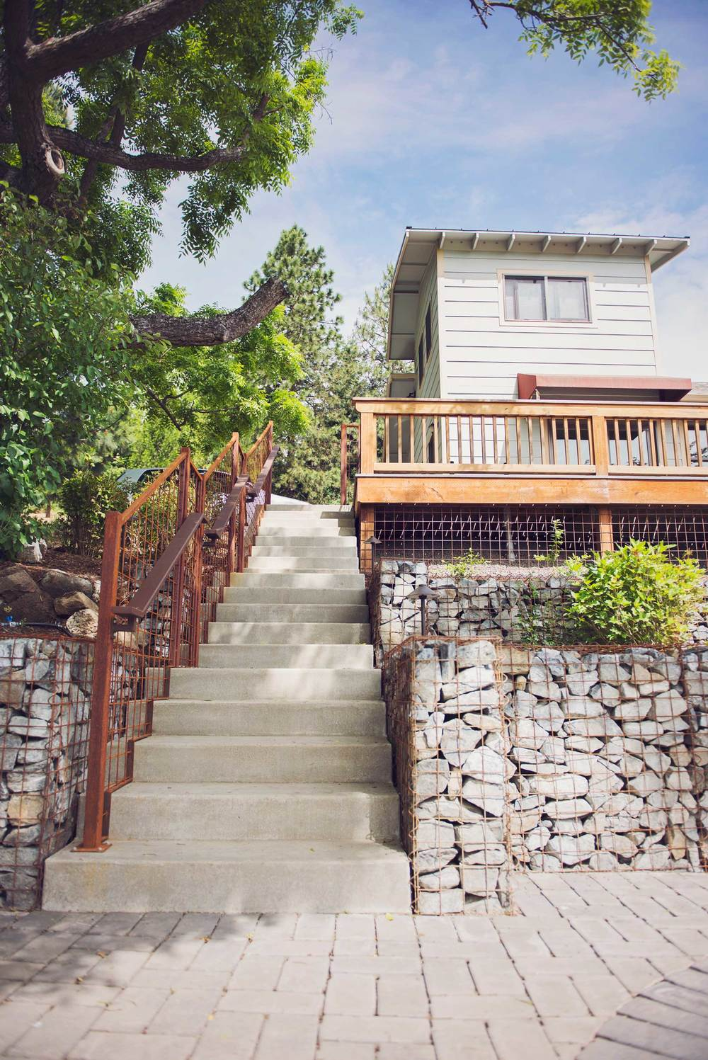 Concrete Staircase with Steel Railings and Gabion Retaining Walls