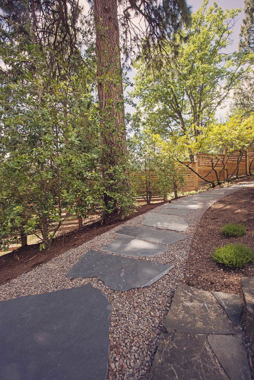 Flagstone and Gravel Path with Steel Edging