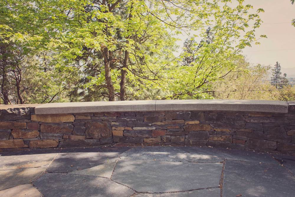Flagstone Patio and Stacked Stone Wall