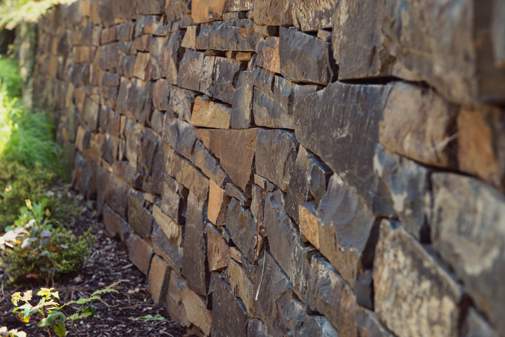 Stacked Basalt Retaining Wall