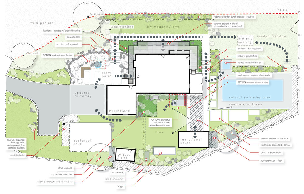 Schematic Design Example Layout Residential + Pool + Outdoor Living Spaces  + Landscape Architecture Design Southern