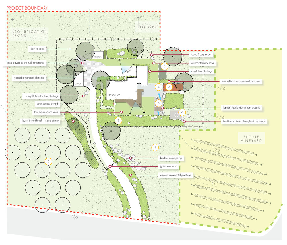 conceptual site layout + landscape architecture schematic + southern oregon + project boundary example + multi-phase project + split project