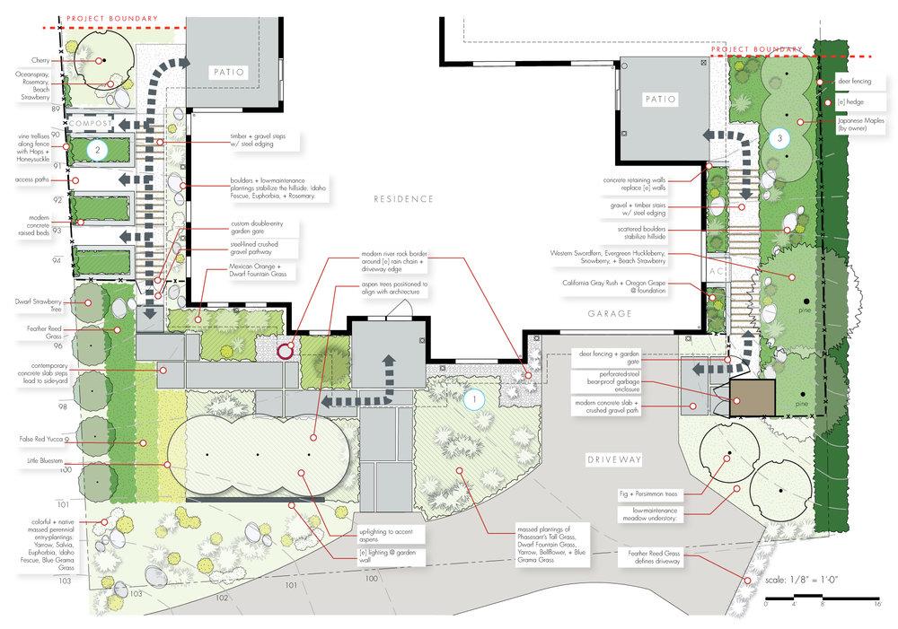 Schematic Design Example Layout Residential + Concrete segmented paths + concrete planters + Landscape Architecture Southern Oregon