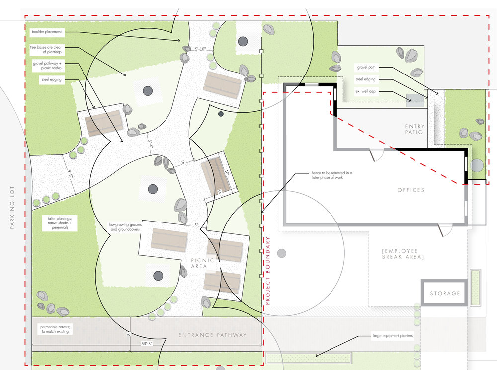 Simple Schematic Design Example Layout + Commercial Property + Business + picnic tables + gravel paths + project phasing + Landscape Architecture Southern Oregon