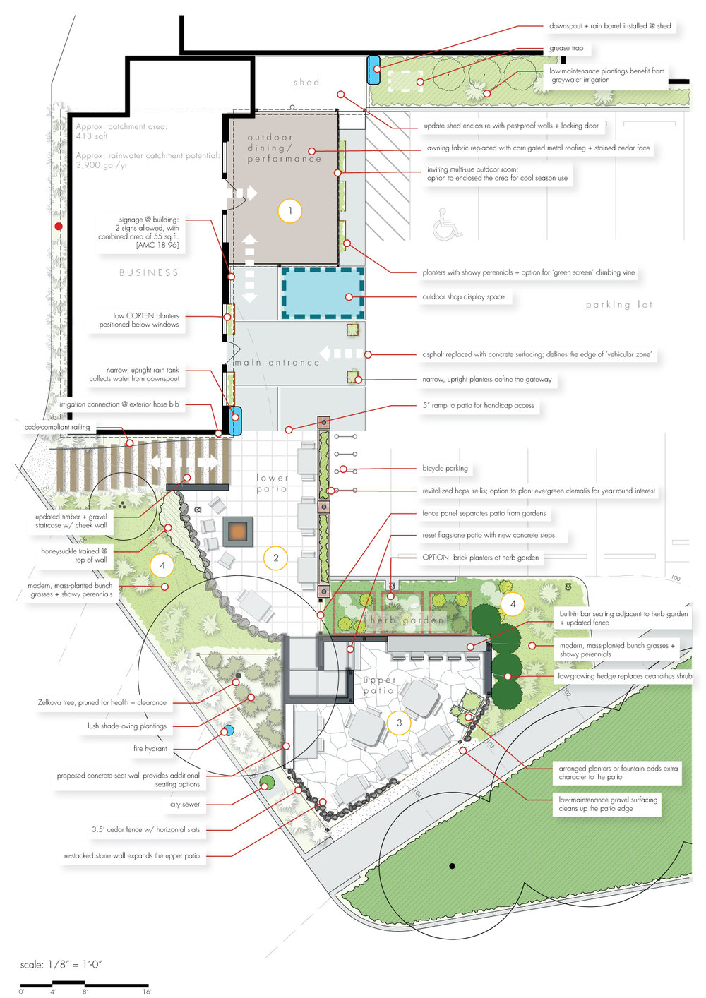 Schematic Design Example Commercial Layout + Landscape Architecture Design Southern Oregon + Business Landscaping