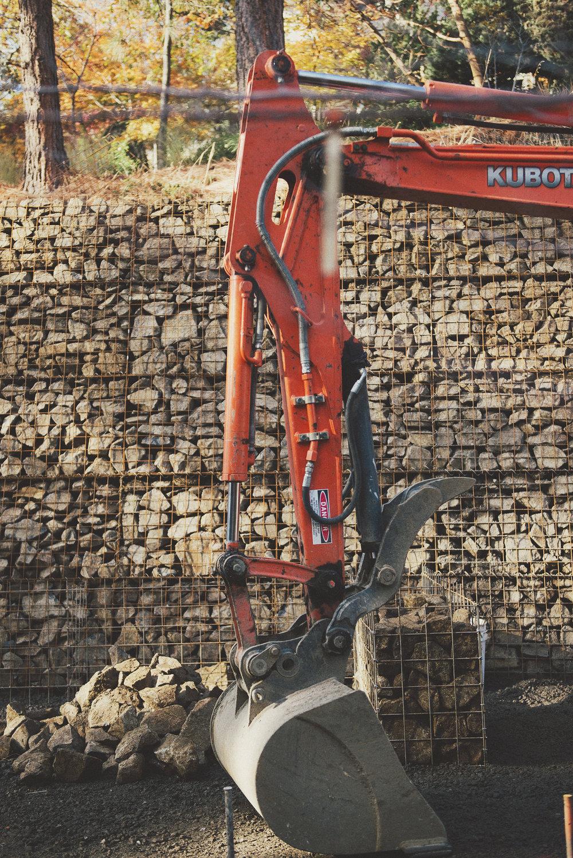 Crew + Kubota Excavator + Gabion Retaing Wall + Rock retaing wall.jpg