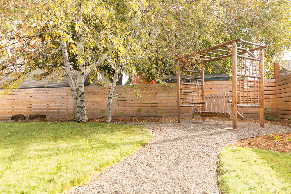 Backyard Swing + Eco-Lawn + Gravel Pathways