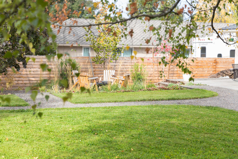 Eco-Lawn + Alternative Lawn + Gravel Pathways
