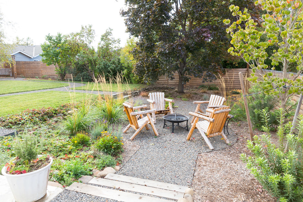 Fire Pit Gravel Patio + Timber Steps + Perennial Garden