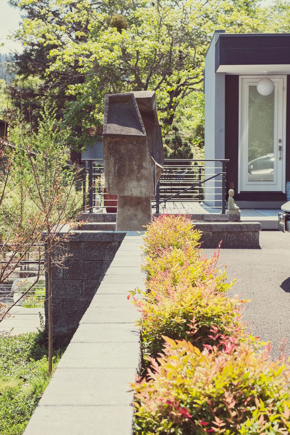 Guest house perennial entrance + Nandina +River Birch + Riparian perennial plantings + sustainable landscaping
