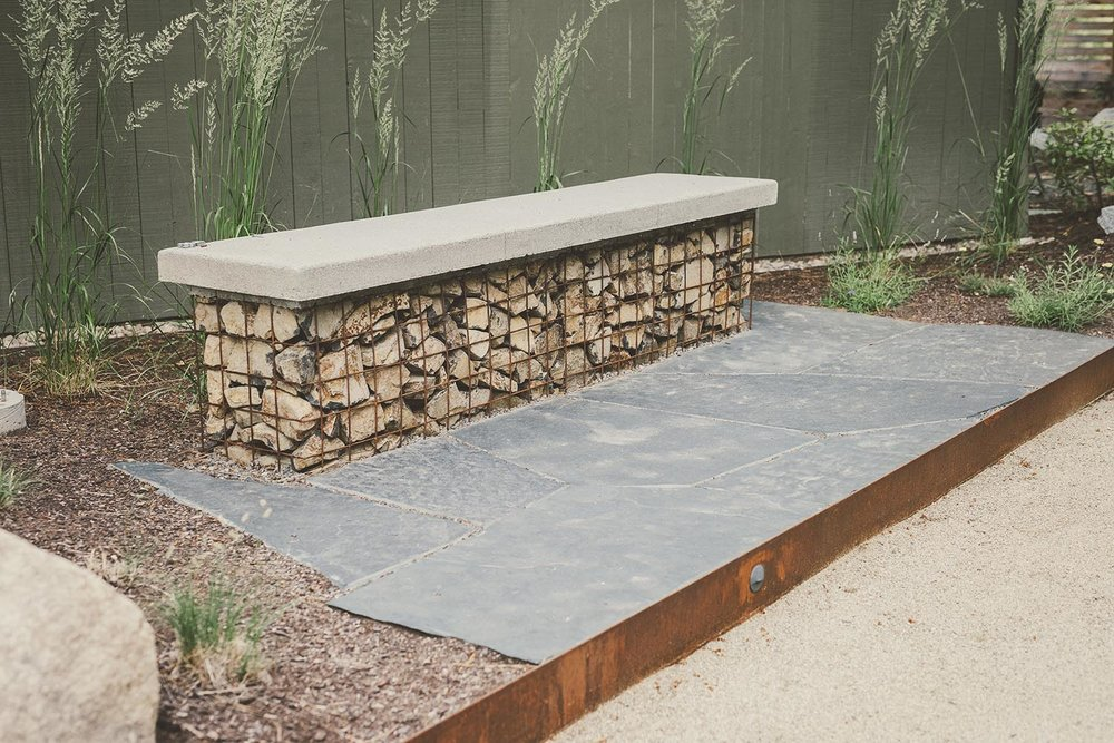 Gabion bench + Concreate Cap Seat + COR-TEN Edge  + modern pacific northwest landscaping