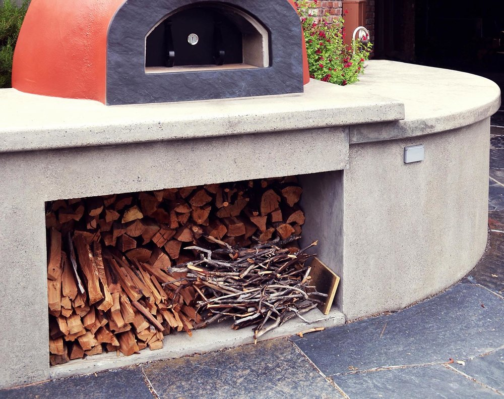 Pizza Oven + Concrete Slab Curved Counter + Fire Wood Storage