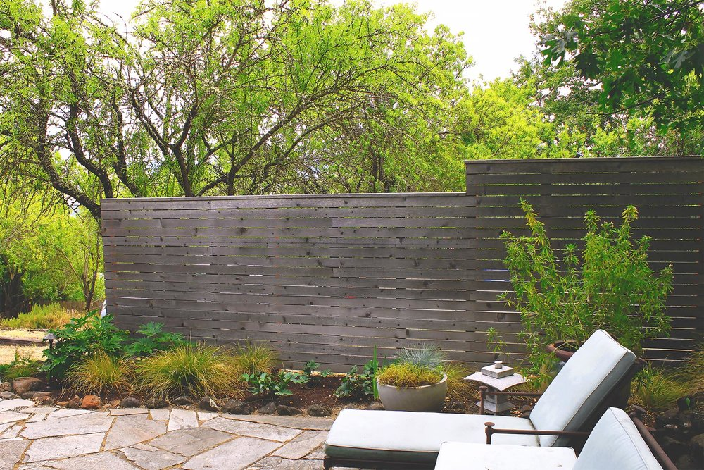 Flagstone Patio + Path + Timber + Gravel Steps + Horizontal Cedar Slat Privacy Fence + Deer-Resistant Perennial Garden + Modern + Seating Area