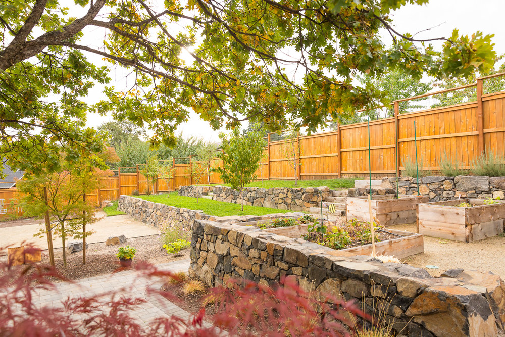 Stacked Stone Rock Retaining Walls + Terraced Orchard