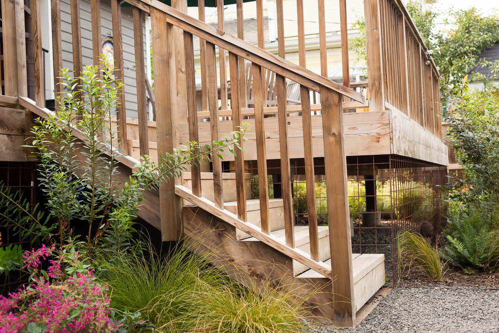 Cedar Deck + Stairs + Welded Wire Mesh Skirting