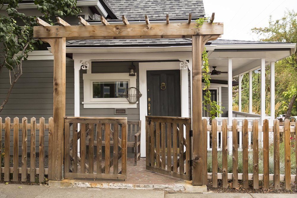Front Entry Arbor + Picket Gate + Pergola
