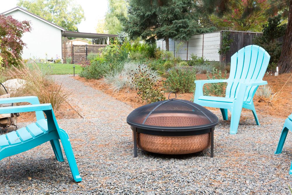 Copper Fire Bowl + Gravel Patio