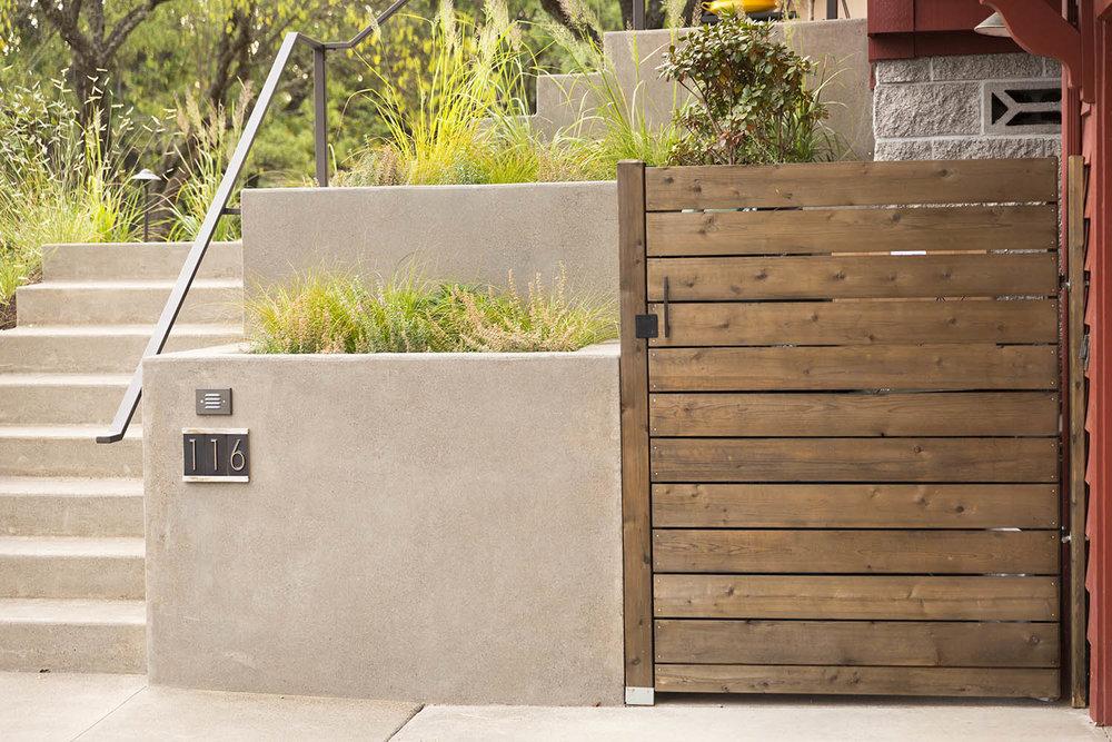 Custom Built-In Modern Garbage Enclosure + Fabricated Steel Handrail