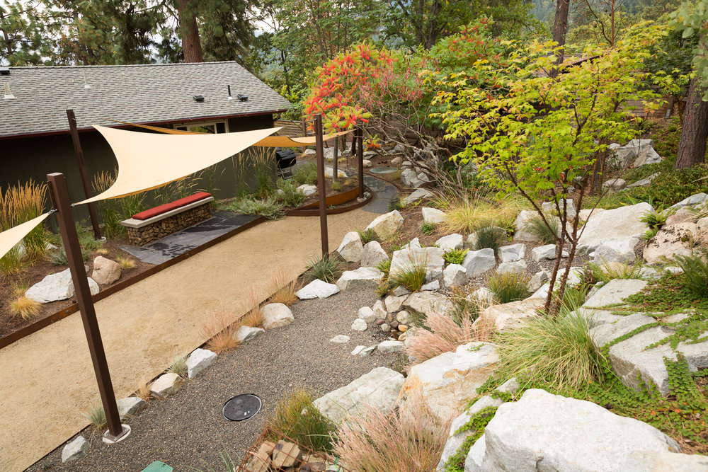 Granite Boulder Slop Retention + CORTEN Bocce Court + Shade Sails