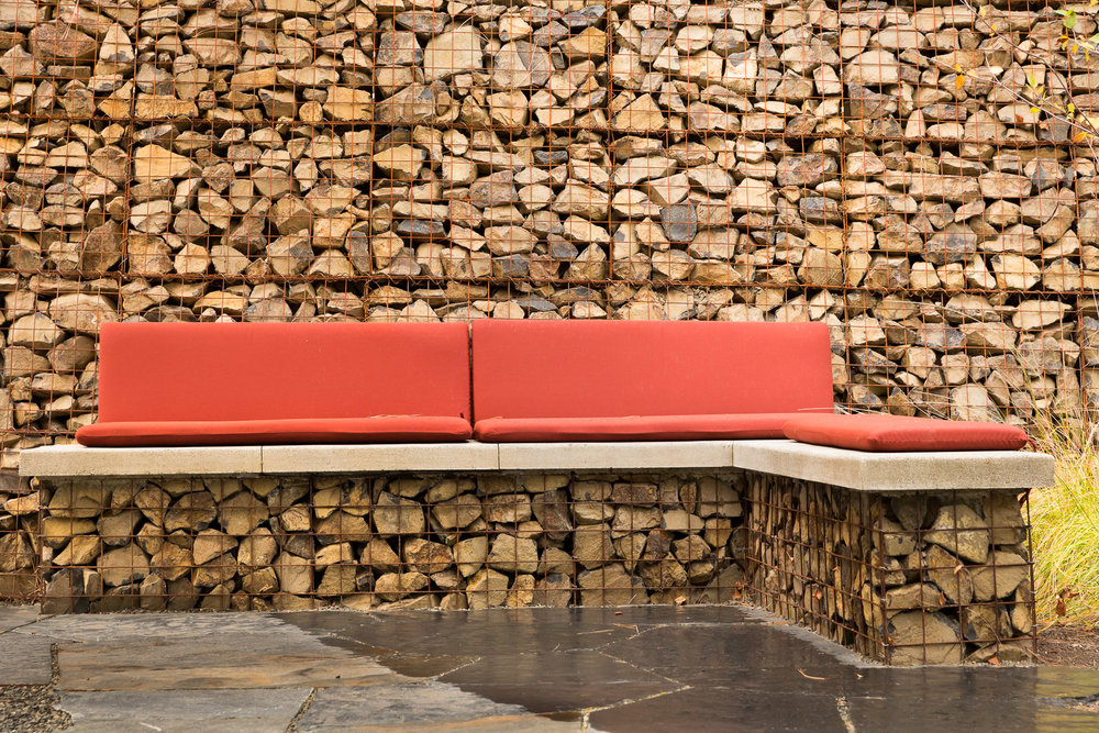 Integrated Gabion Bench + Concrete Cap Seat + Retaining Wall + Flagstone Patio