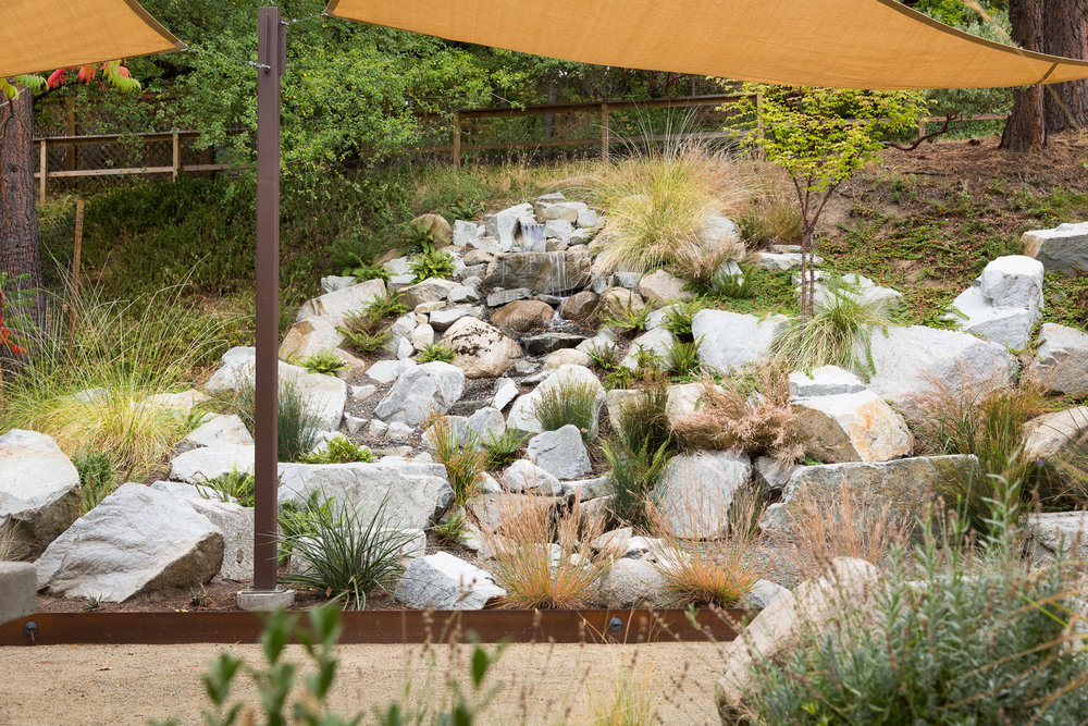 Strewn Granite Waterfall + Perennials