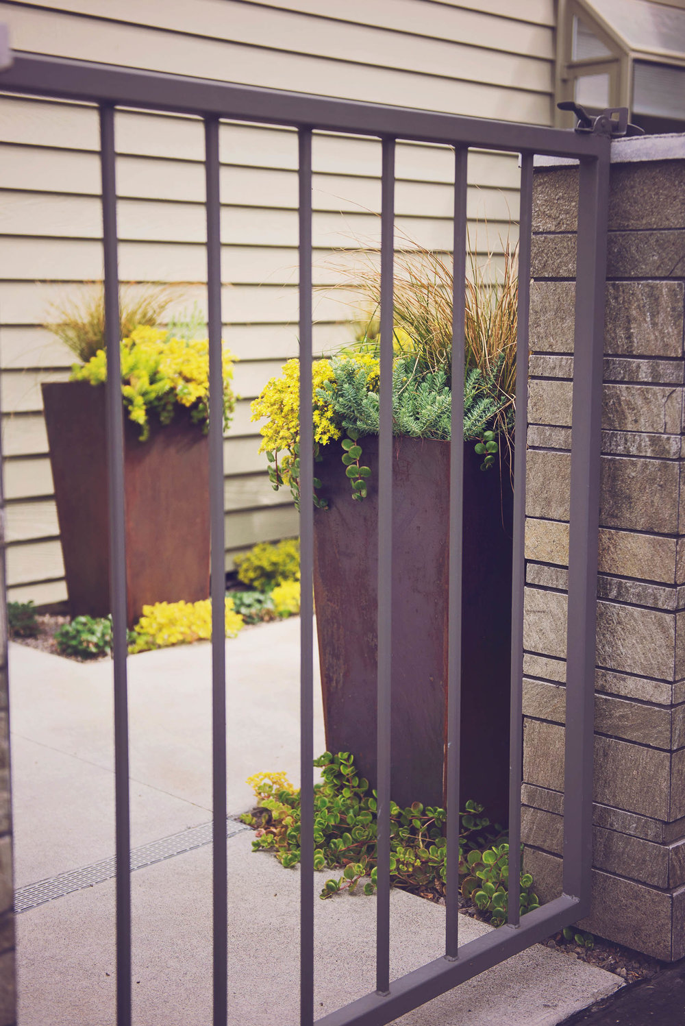 Garden Gate with Modern Planters
