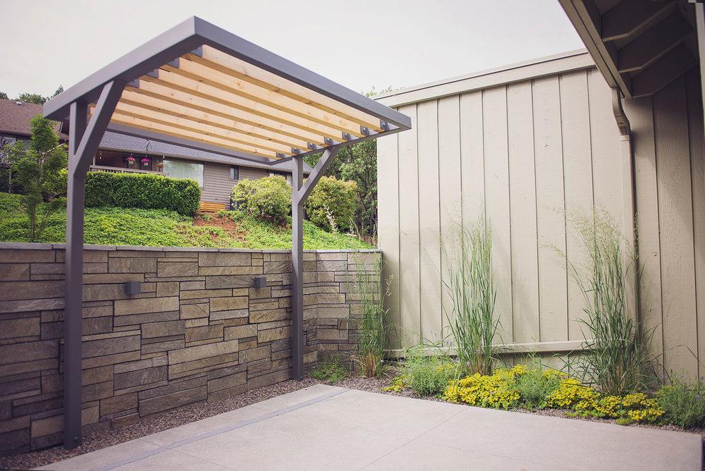 Steel + Cedar Shade Arbor + Garden Wall + Natural Stone Veneer
