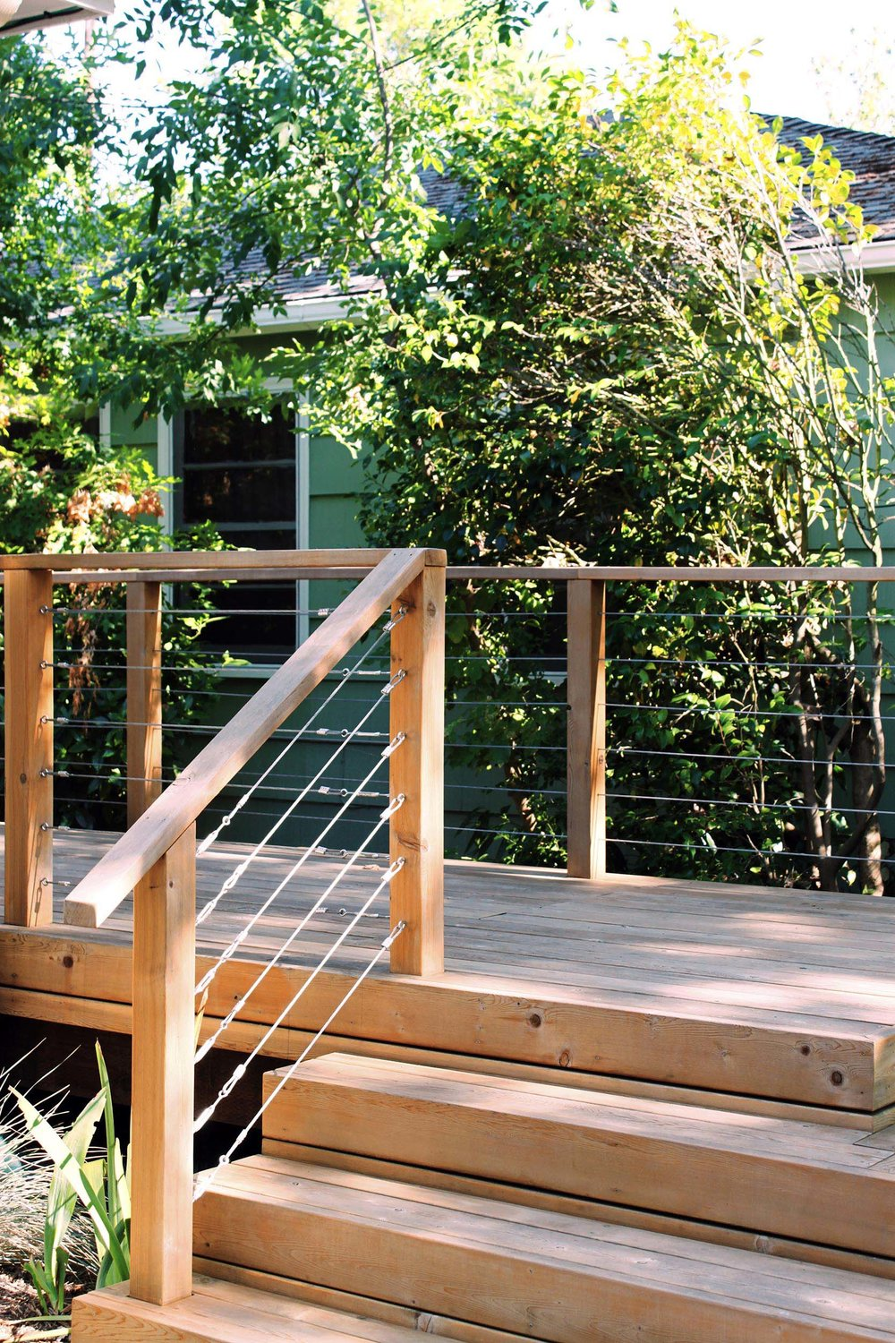 Cedar Deck + Stairs + Modern + Simple + Tensions Cable Railing
