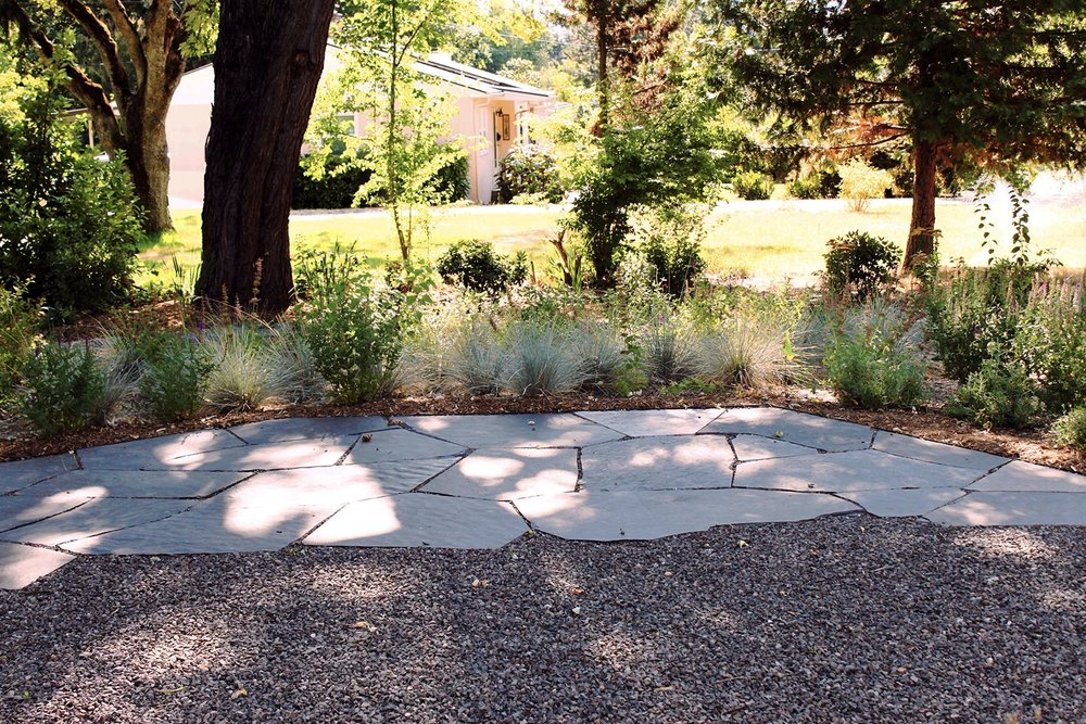 Flagstone + Gravel Backyard Patio + low-maitenance perennial garden + Shade + Drought Tolerant + Pollinator