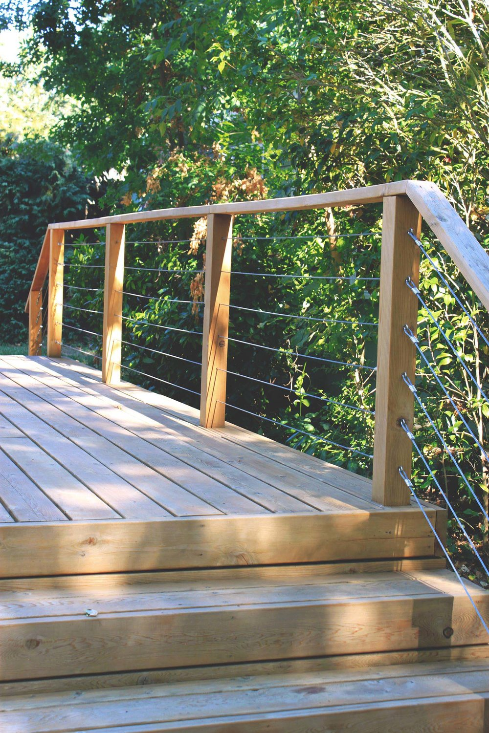 Cedar Deck + Steps + Tensions Cable Railing + Modern