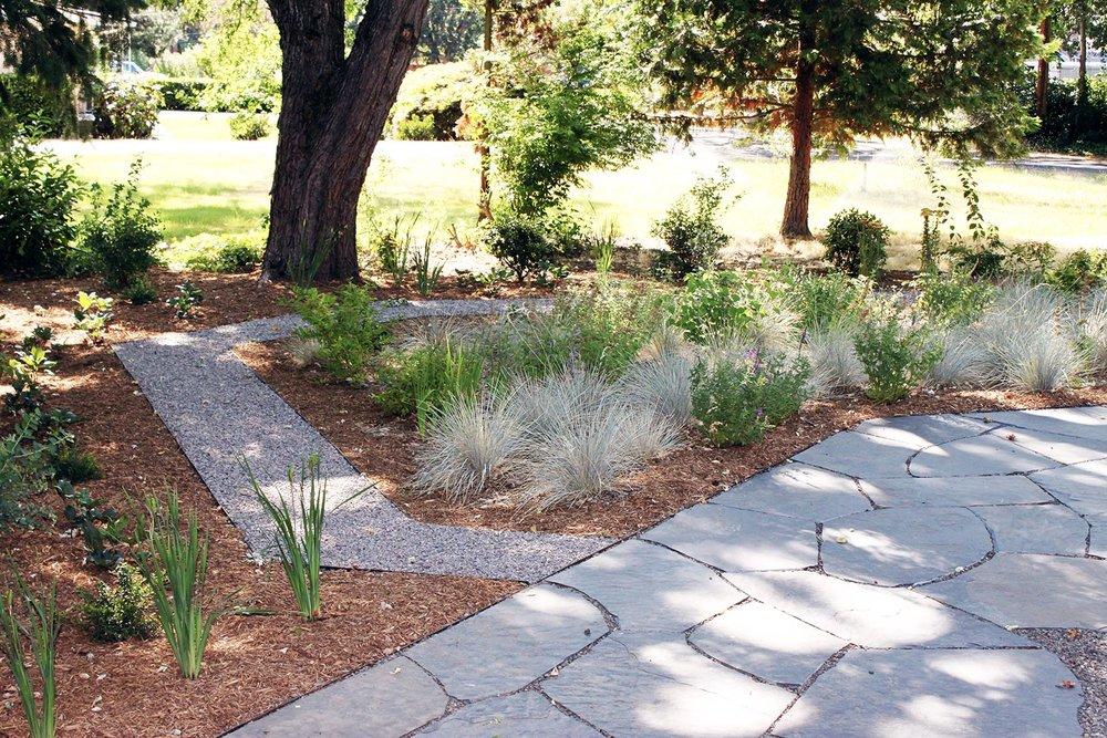 Flagstone Patio + Gravel Path + Drought Tolerant Garden + Perennials + Utilitarian + Shade Tolerant + Pollinator Garden