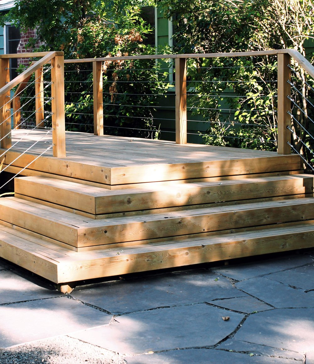 Cedar Deck + Wrap Around Stairs + Geometric + Simple + Modern +Tensions Cable Railing