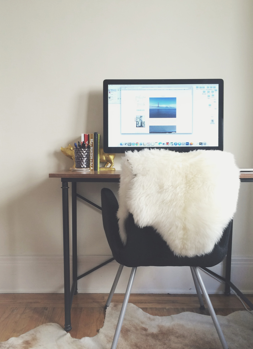 My desk. I usually don't have that sheepskin thing out, but it's been cold...