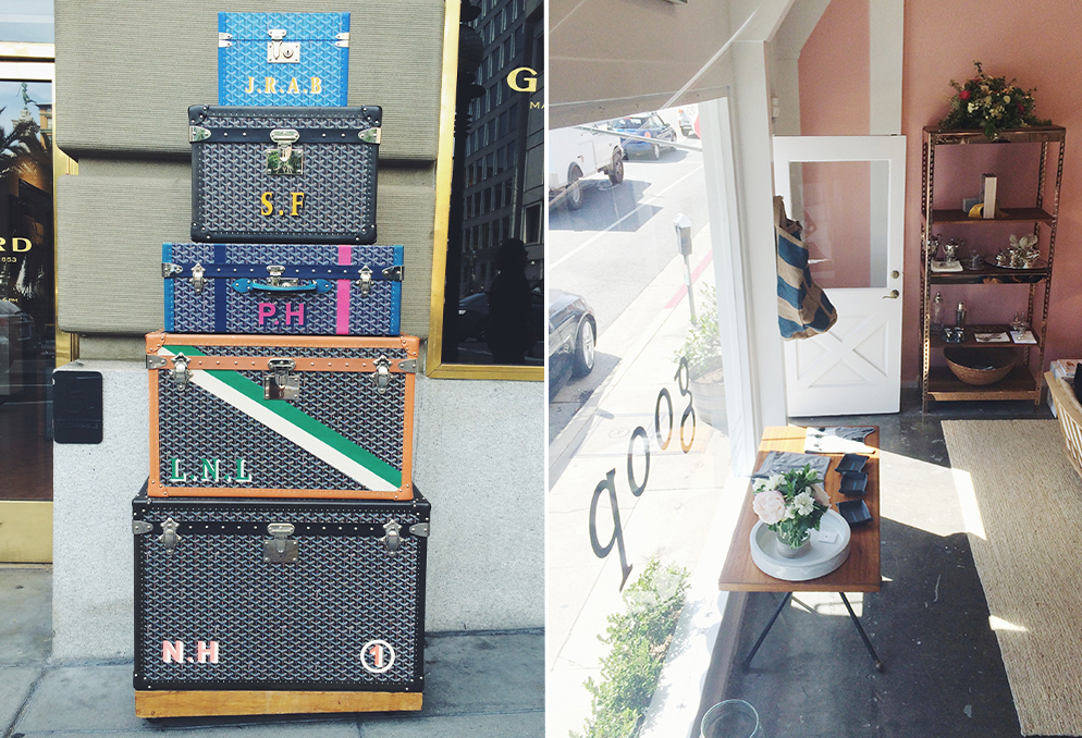 >> Left: Anyone else confused about the tower of GOYARD just chilling on the sidewalk?! Right: A look into the GOOP popup shop. No, I didn't buy anything. Everything was over $200 bucks. Thanks Gwyneth.