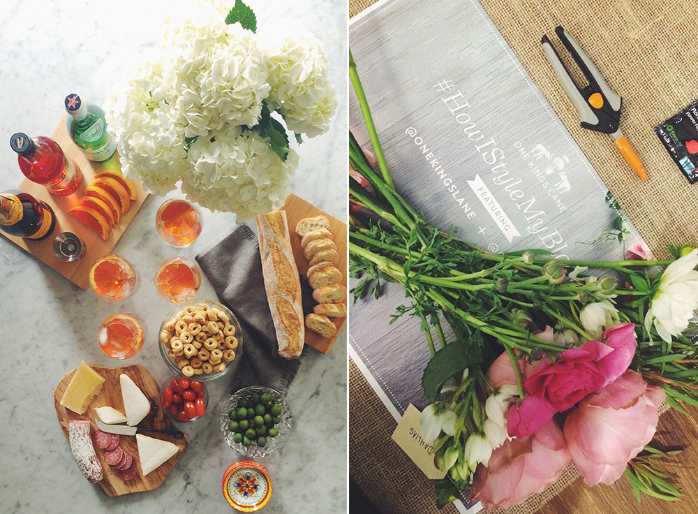 >>Left: A quick snap of the party I styled for this entertaining post! Right: My fresh picks from a night with One Kings Lane and BloomThat (an awesome floral delivery service).
