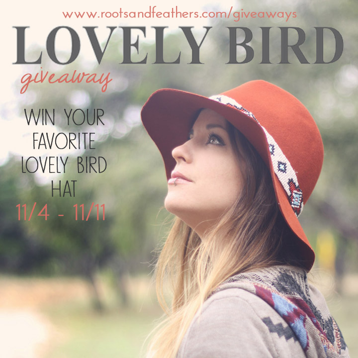 lovely bird giveaway on roots and feathers blog