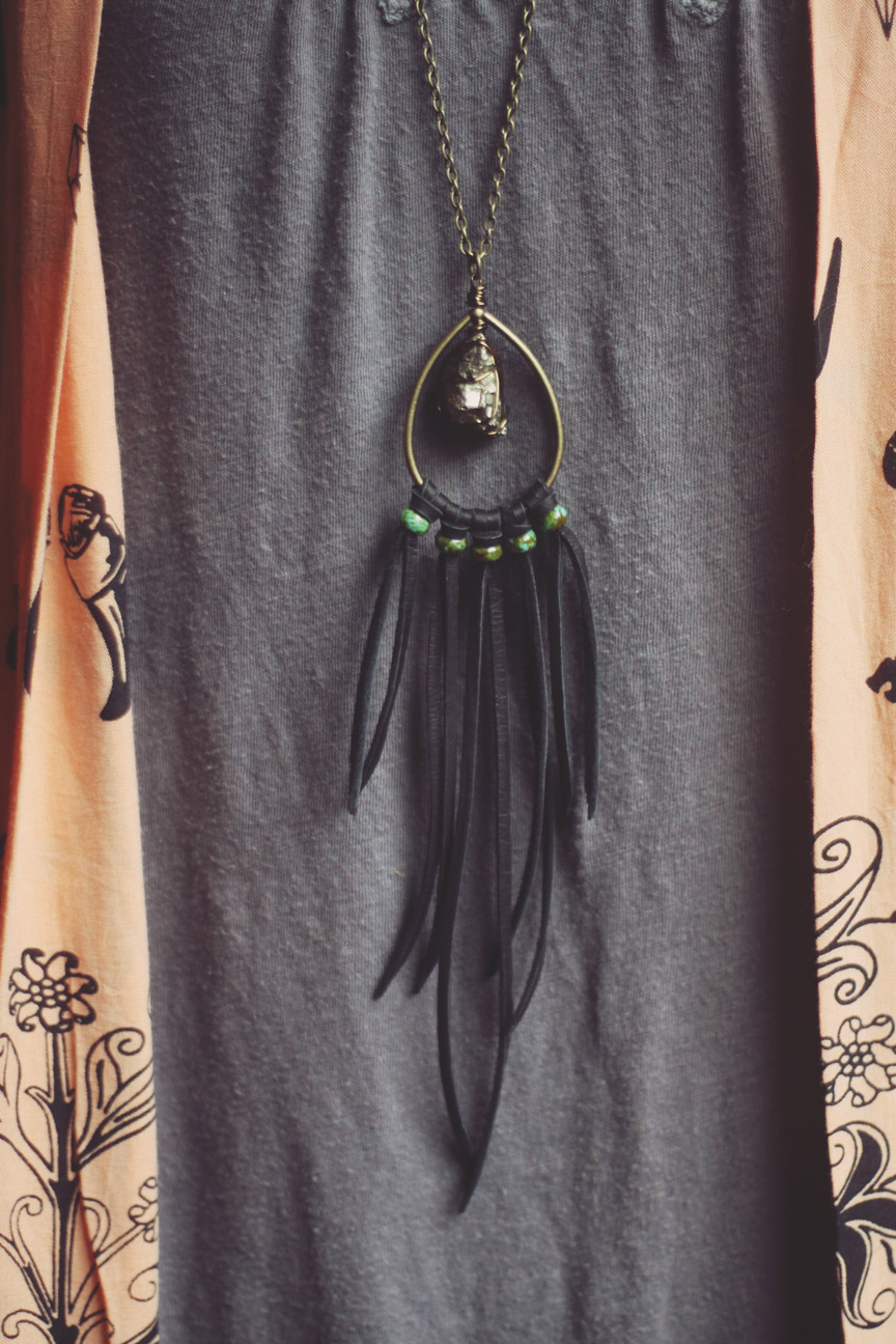 Roots and Feathers Deerskin and Pyrite Necklace